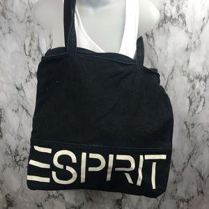 Vintage 90s Esprit Tote Bag Canvas Black Zipper